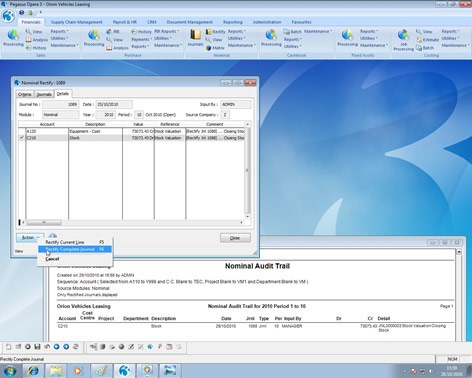 Opera 3 Nominal Ledger